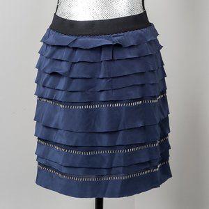 NWT BCBGMaxAzria blue silver bead tired skirt -M